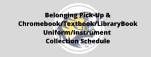 Belonging Pick-Up Schedule, May 19-22