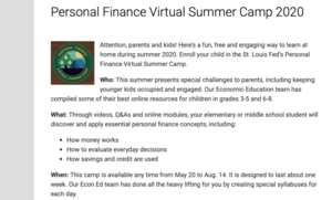 Personal Finance Virtual Summer Camp