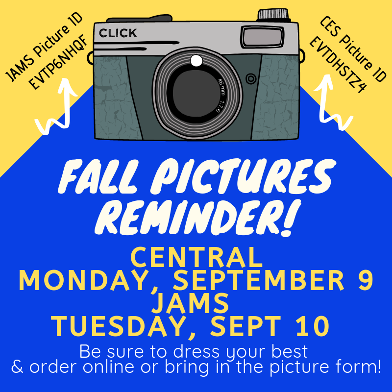Camera with blue and gold writing: Picture day details