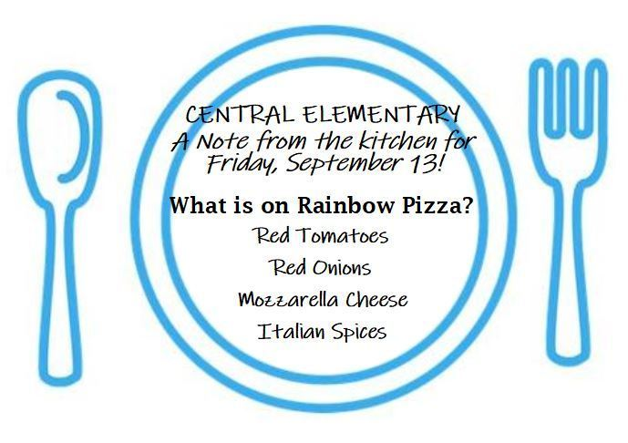 What is on Rainbow Pizza on a blue plate