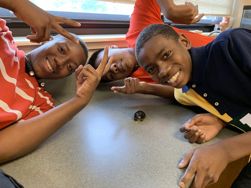 students pose with turtle