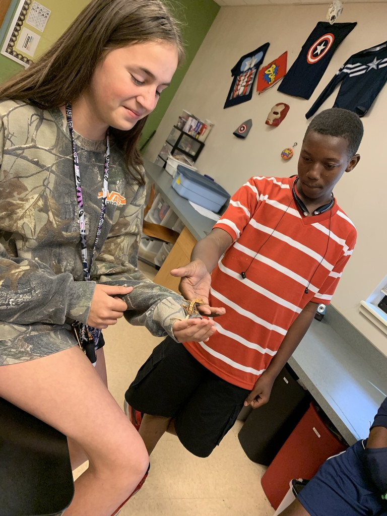 students hold lizard