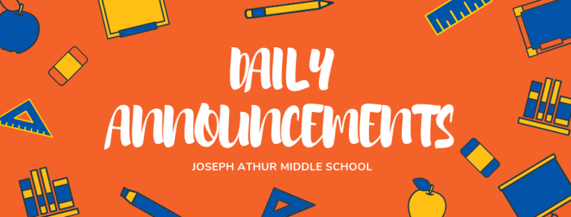 Daily Announcements for January 21, 2020