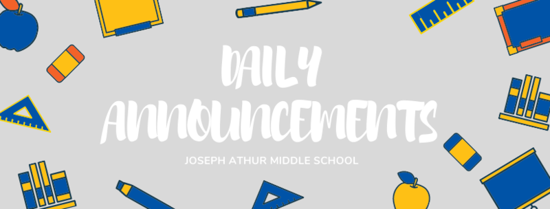 Daily Announcements for September 15, 2020